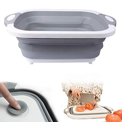 JASIN Opvouwbare wastafel kom voedsel filter grote kom vergiet fruit/groente afvoer mand op de wastafel camping vouwen snijplank geschikt voor picknick, barbecue, keuken