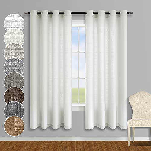 Ivory Curtains 63 Inch Length for Bedroom 2 Panels Grommet Farmhouse Window Light Filtering Faux Cotton Linen Semi Privacy Textured Thick Sheer Curtains for Living Room 52x63 Long Cream Off White