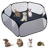 YAVO-EU Kleintierkäfig-Zelt,Kleintiere laufstall Tragbarer laufstall für kleintiere Outdoor/Indoor Übungszaun,für Meerschweinchen Kaninchen Hamster und Igel (Black)