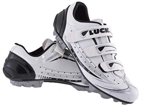 LUCK Zapatillas de Ciclismo Master Blanco, con Suela de Carbono y Triple Tira de Velcro para una sujeción (42 EU)