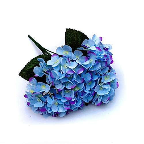 chuanglanja Flor Artificial para Decoracion Simulación Flor Hortensia Boda Flor Falsa Hogar Coración La Sala Estar (10 Racimos Flores) -Azul Púrpura