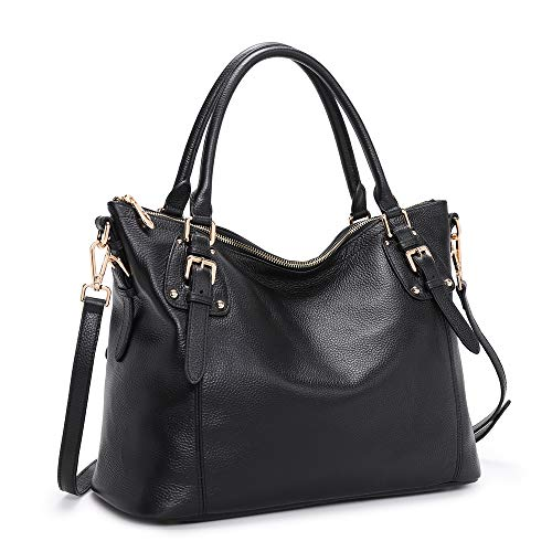 Kattee Women's Genuine Leather Handbags Shoulder Tote Organizer Top Handles Crossbody Bag Satchel Designer Purse (Black)