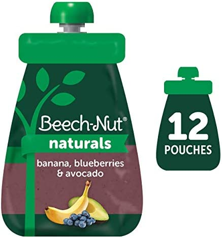Beech Nut Naturals Stage 2 Baby Food Pouch Banana Blueberries Avocado 12 Count 3 5 oz Pouches product image