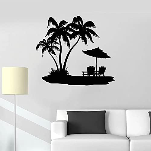 Usmnxo Calcomanía de Pared Palm Beach Vacaciones Viajes Ocio relajación Vinilo Ventana Pegatina océano Dormitorio Junto al mar Restaurante Mural 57x64cm