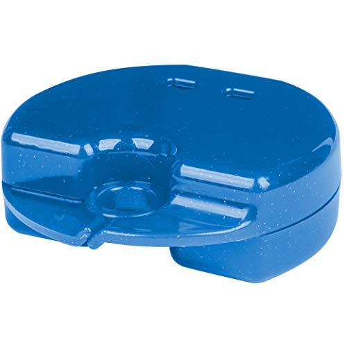 Patientenshop Spangendose Mini Hellblau mit Glitzer, Box für Zahnklammer, Mundschutz, Knirscherschiene oder Aufbissschiene, made in Germany