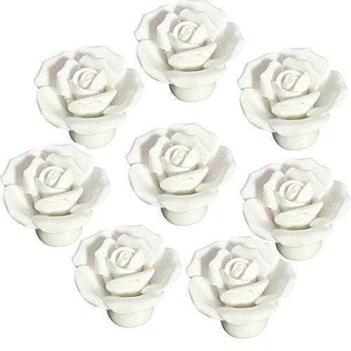 FBSHOP(TM) 8 Stück Weiß Vintage Floral Rose Form Keramik Porzellan Türknauf Möbelknauf Porzellanknöpfe für Küche/Schrank/Bad/Schubladen