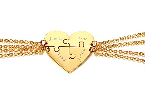 XUANPAI Personalized Customized Stainless Steel Matching Heart Shape Puzzle 4 Piece Pendant Best Friend Friendship Engraving Pendant Necklace Gold Plated