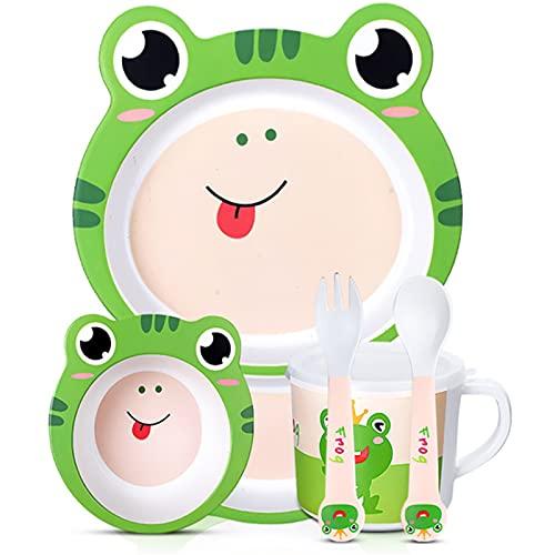 Juego de Vajilla para Niños Laboratorio para bebés Vajilla Niños Dibujos animados Alimentación Platos Niños Natural Bambú Fibra Vajilla con tazón Taza Taza Cuchara Placa 5pcs / Set Fácil de Usar para