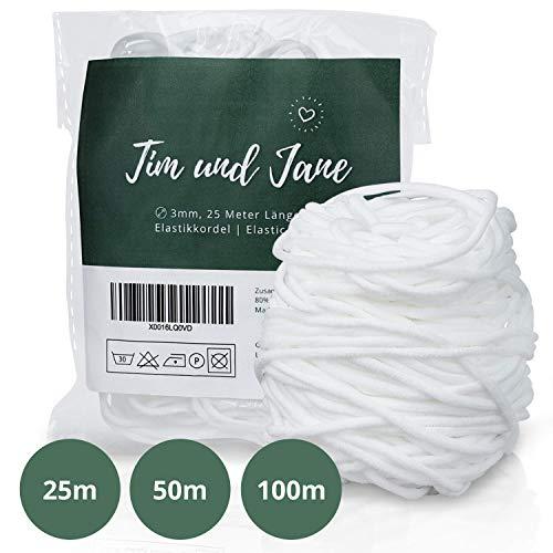 Tim und Jane Gummiband rund 3mm, 25m Länge, Elastikkordel zum Nähen, Gummiband für Mundschutz (weiß)