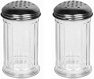 Great Credentials Set of 2 Multi-Purpose Spice Seasoning Grated Cheese Shaker Retro Dispenser, Glass Jar, Perforated Stainless Steel Lid 12 OZ Each (Perforated Lid)