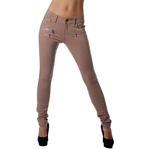 Crazy Age Damenhose Jegging Legging Zipper stylisch H086 (42, Hellbraun)