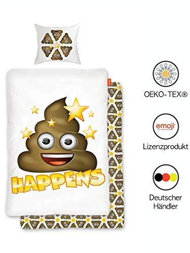 Emoji Bettwäsche Jugendliche 135x200 cm aus 100% Baumwolle | Wende-Bettwäsche Jungs Teenager mit 80x80 cm Kissenbezug | Öko-Tex Standard 100 Deutsche Standardgröße mit Reißverschluss
