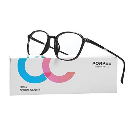 PORPEE Occhiali a luce blu, occhiali per computer, occhiali uv, schermo / mobile / tablet / protezione TV, previene l'affaticamento degli occhi, lenti chiare unisex per uomini e donne