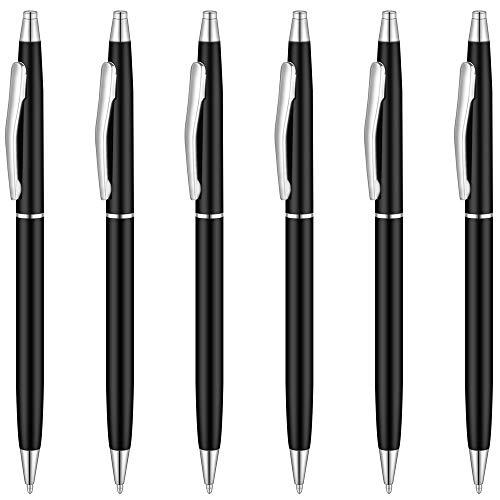 Unibene Slim Metallic Retractable Ballpoint Pens - Matte Black & Silver, Nice Gift for Business Office Students Teachers Wedding Christmas, Medium Point(1 mm) 6 Pack-Black ink