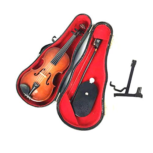 LS Realistic Mini Wood Violin Musical Instrument, Miniature Dollhouse Replica Christmas Ornament Holiday Accessories Gifts with Case (M-V-16-S)