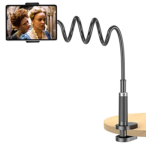 """Gooseneck Phone/Tablet Holder for Bed, HolderProf Adjustable Long Arm Clamp Tablet Stand for Desk, Compatible iPad Pro Mini Air, Galaxy Tabs,Amazon Kindle Fire HD, iPhone 13 All Devices (4.7""""-12.9"""")"""