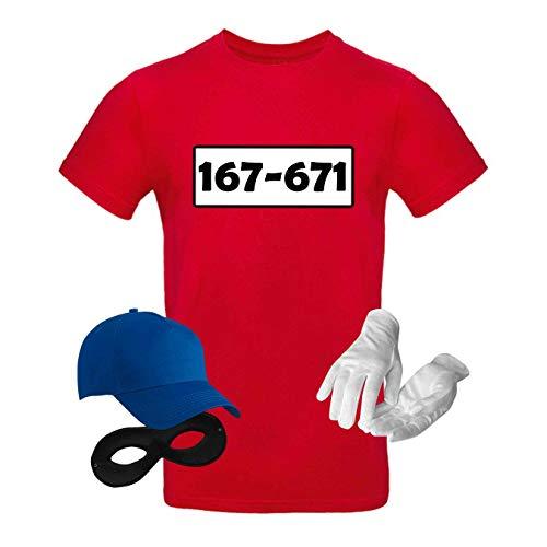 T-Shirt Panzerknacker Kostüm-Set Wunschnummer Cap Maske Karneval Herren XS - 5XL Fasching JGA Party Sitzung, Größe:M, Logo & Set:Standard-Nr./Set komplett (167-761/Shirt+Cap+Maske+Handschuhe)