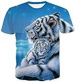 Photo de Ocean Plus Homme T-Shirt de Sport Imprimé Animal Col Rond Manches Courtes Multicolore Galaxie Chemise à Manches Courtes (XXL/175-180, Tigre Blanc)