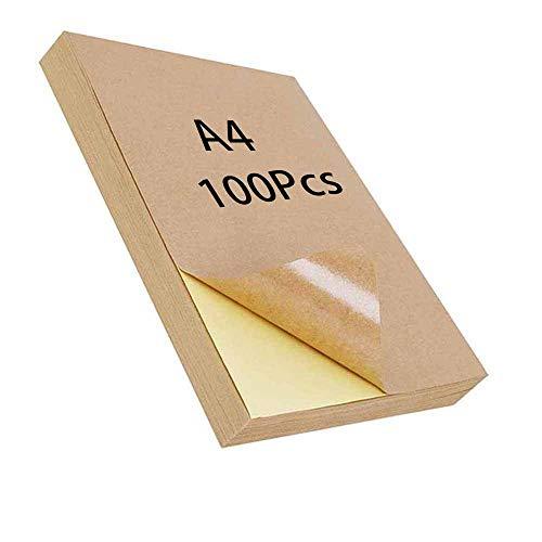 Papel Kraft para Etiquetas A4, 100 Piezas de Papel para Impresión Adhesiva, Papel para Etiquetas Kraft, Impresora Láser de Inyección de Tinta, Artesanía de Etiquetas