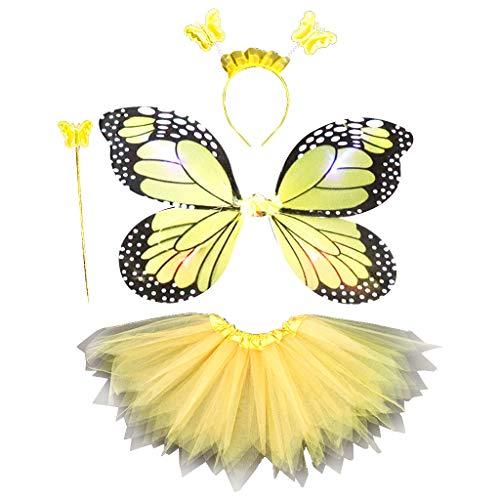 aoixbcuroc Disfraz de hada para nios y adultos, juego de disfraz de hada LED simulacin mariposa ala puntiaguda tut falda diadema varita princesa nias vestido de fiesta