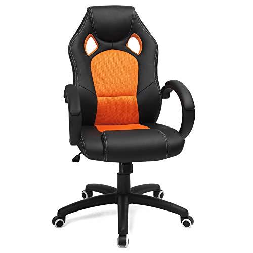 SONGMICS Racing Stuhl Bürostuhl Gaming Stuhl Chefsessel Drehstuhl PU, schwarz-orange, OBG56BO