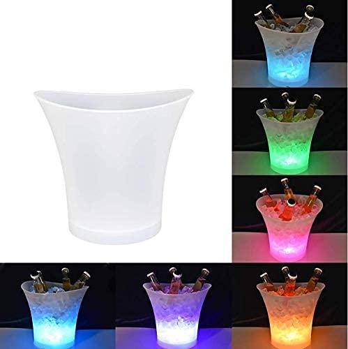 Cubo de hielo LED 5L de alta capacidad automático 6 colores cambiantes champán vino bebidas cerveza hielo enfriador Curva diseño, funciona con pilas