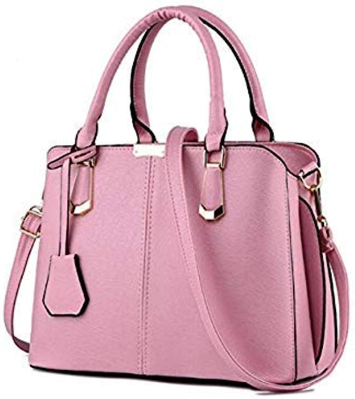 Bloomerang FGJLLOGJGSO Fashion Trend Soft Tote Messenger Bag Women Handbag PU Leather Shoulder Bag Casual Crossbody Bag Female Sac A Main color Pink 30CMX15CMX23CM