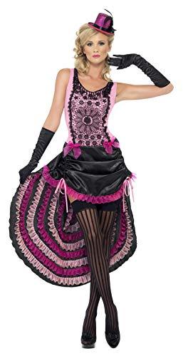 Smiffys, Dames Burlesque schoonheidskostuum, jurk met tunneltreklijnen-rok en strikversiering, maat: S, 22425