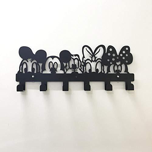 HDOUBR Percha de pared de hierro forjado decoración infantil colgador de puerta perchero tienda de ropa dormitorio versión extendida fila gancho personalidad-A