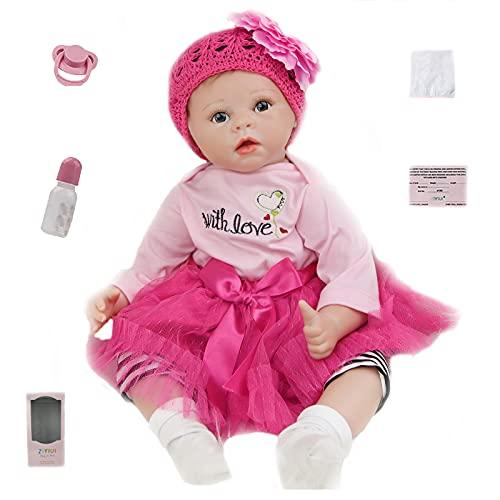 ZIYIUI Realista 22 Pulgadas Bebe Reborn Muñecas bebé 55 cm Recién Nacido Silicona Suave de Vinilo Realista niña Bebé Reborn Hecha a Mano Regalo de cumpleaños para niños