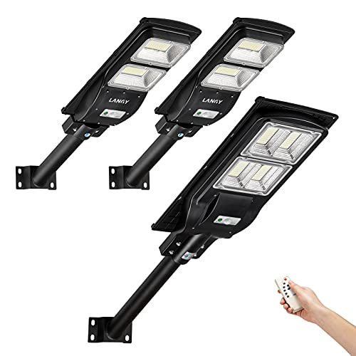 Solar Powered Street Light Combo,2 Pack 60 watts Solar Street Light +1 Pack 120 watts Solar Powered Street Light