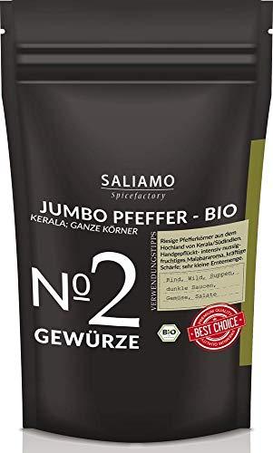Schwarzer Jumbo Pfeffer ganz, aus Hochland von Kerala, handgepflückte Pfefferkörner, komplexes, intensiv nussiges Malabararoma, zu Rind, Wild, Suppen und dunklen Saucen 100 g | Saliamo