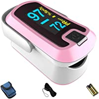 mibest OLED Finger Pulse Oximeter, O2 Meter, Dual Color White/Pink