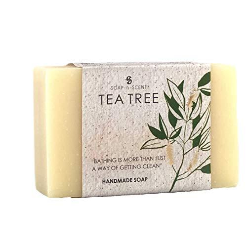 SOAP-n-SCENT by Aximo   FAIR TRADE seife Teebaum (1 x 100 g)   Natürliche Feste Körperseife Und Duschseife, Vegan, Handgemacht, Bio Naturseife   Körperpflege und Gesichtspflege