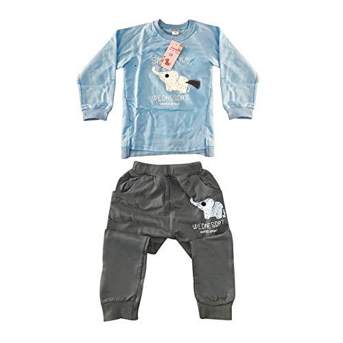 2 pcs Sweat à Manches Longues + Costume Pantalon élastique avec Belle Impression d'éléphant Infant Baby Boys Girls Soft Combishort Sports - Bleu clair-120CM