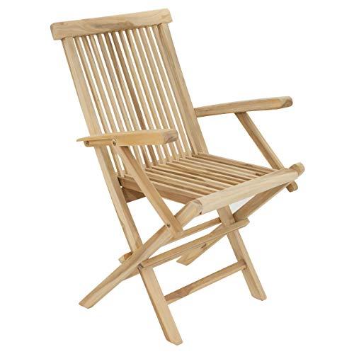 Divero GL05037 Stuhl Gartenstuhl Terrassenstuhl Klappstuhl aus Teak-Holz Hochlehner mit Armlehnen klappbar massiv unbehandelt Natur