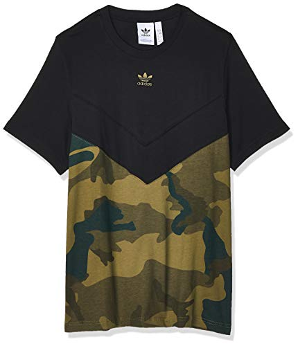 adidas Herren T-Shirt CAMO Block T, Black/Multicolor, L, FM3356