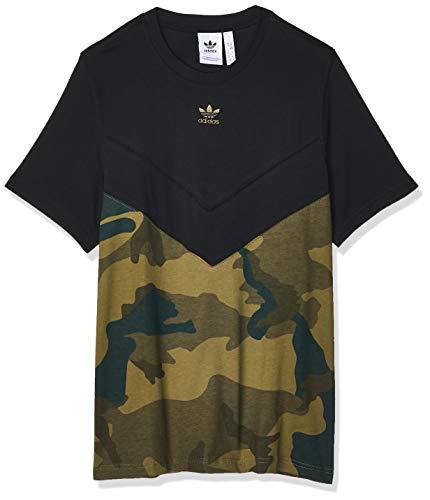 adidas Herren T-Shirt CAMO Block T, Black/Multicolor, L, FM3356