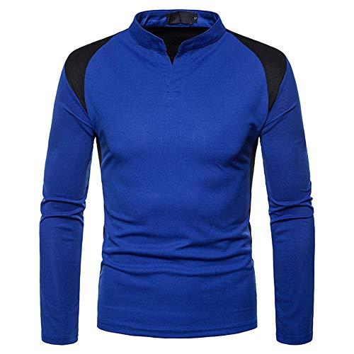 Mr.BaoLong&Miss.GO Herbst Herren Sweatshirts Unregelmäßige Nähte Langärmelige Plus Größe Henry Kragen T-Shirt Bottoming Shirt
