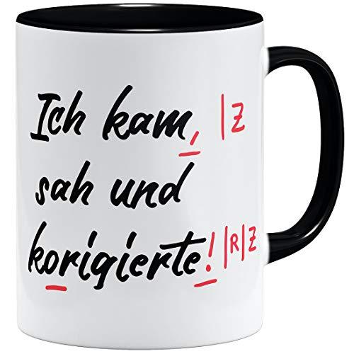 OM3® lustige Lehrer Tasse | Keramik Becher | 11oz 325ml | Beidseitig Bedruckt | Schwarz
