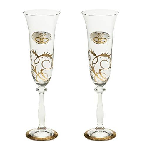 Copas Champan Bodas Oro decoración artesanal con Oro 18k