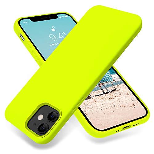 AOTESIER Compatible with iPhone 12 Mini Case 5.4 inch(2020),Ultra Slim Fit Premium Soft Liquid Silicone Rubber Full-Body Protective Bumper Case Anti-Scratch for iPhone 12 Mini (Fluorescent Yellow)