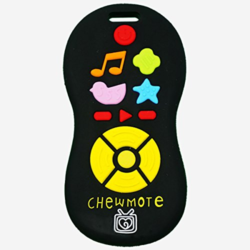 Silli Chews Unisex Fake Pretend Play TV Remote Control Toy Toddler Chewmote Favorite Baby Teether Infant Silicone Teething Toy Black Chew Toys for Kids