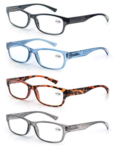 4 Pack Lesebrille 1.5 Herren/Damen,Gute Brillen,Hochwertig,Rechteckig,Komfortabel,Super Lesehilfe,fur Manner und Frauen