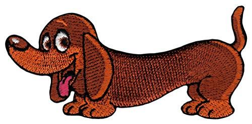 Bestellmich Hund Dackel Aufnäher Bügelbild Patch Applikation Größe 8,2 x 3,8 cm