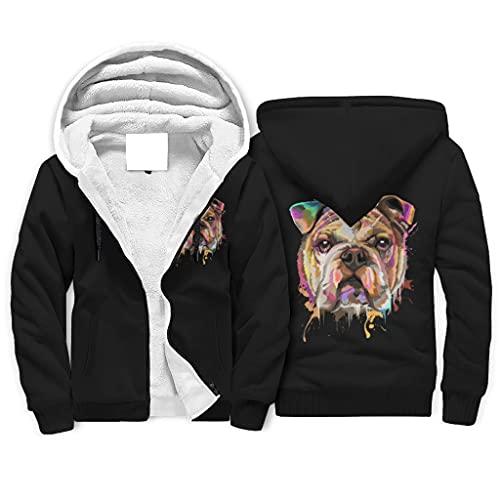 Mädchen Jungen Sherpa Kapuzenpullover Jacke Sweatshirt Englische Bulldogge Buntes Hund Tier Graphic Hoodies Top Sweatjacke mit Kapuze White L