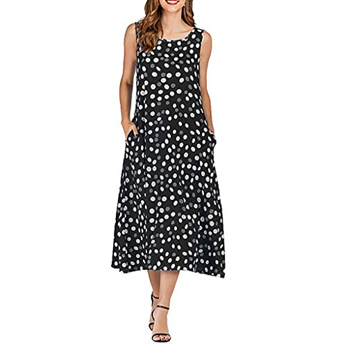Auifor vrouwen O hals zomer mouwloos polka dot print lange jurk vakantie