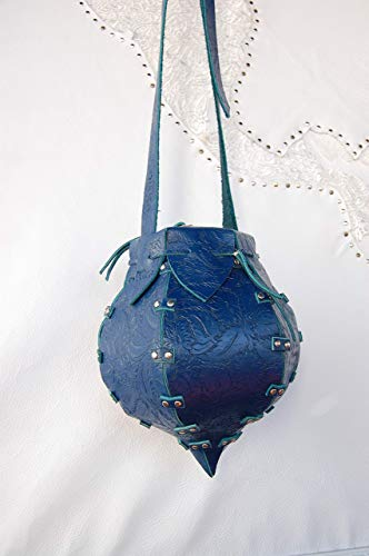 Bag. Bolso Bombonera en Piel de Ternera Azul con Brocado de Flores. Modelo; Pompadul Flores.