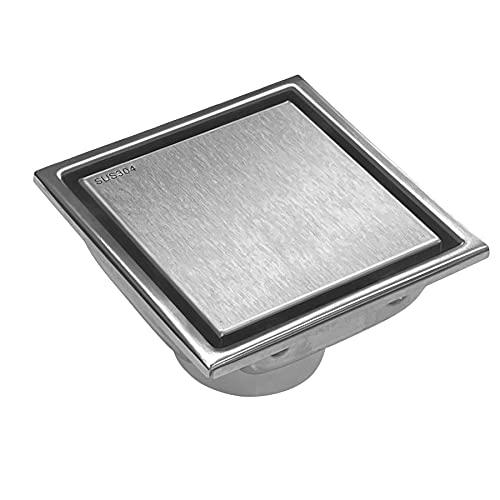 BESTTEN Modern Designer 4 Inch Square Shower Floor Drain, Reversible Designer Tile/Stainless Insert, Solid 304 Stainless Steel, CUPC Certified