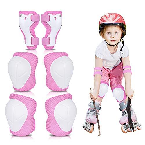 MAIGG Coderas y Rodilleras para niños con muñequeras, Equipo de protección para niños 6 en 1, con Correa Ajustable para de 3 a 8 años, multideportiva Ciclismo Scooter Ciclismo Patines Patinaje